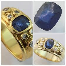 damaged gold sapphire ring